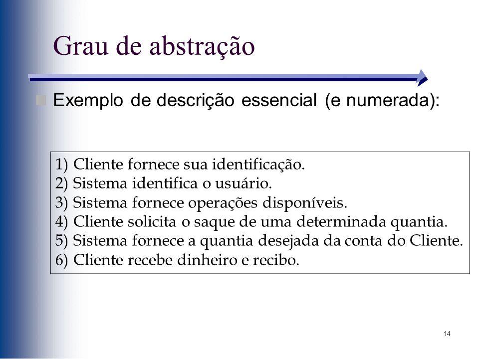 14 Grau de abstração 1)Cliente fornece sua identificação. 2)Sistema identifica o usuário. 3)Sistema fornece operações disponíveis. 4)Cliente solicita