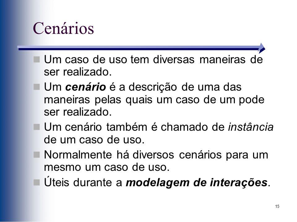 15 Cenários Um caso de uso tem diversas maneiras de ser realizado.