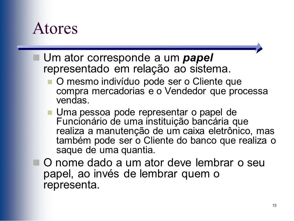 19 Atores Um ator corresponde a um papel representado em relação ao sistema.