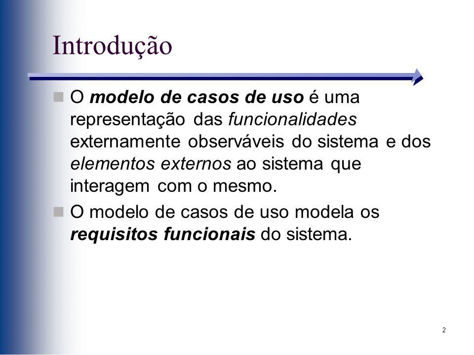 2 Introdução O modelo de casos de uso é uma representação das funcionalidades externamente observáveis do sistema e dos elementos externos ao sistema