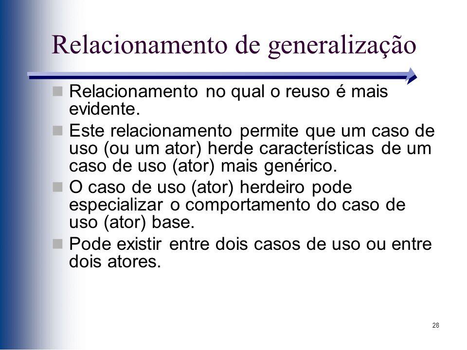 28 Relacionamento de generalização Relacionamento no qual o reuso é mais evidente. Este relacionamento permite que um caso de uso (ou um ator) herde c