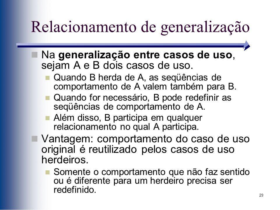 29 Relacionamento de generalização Na generalização entre casos de uso, sejam A e B dois casos de uso. Quando B herda de A, as seqüências de comportam