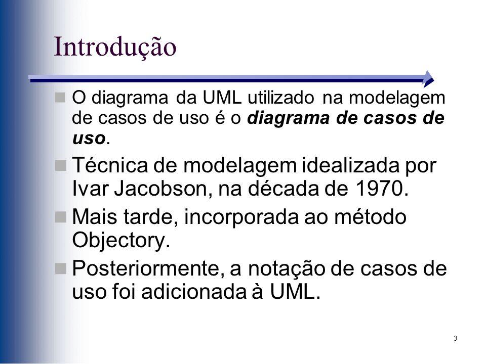 3 Introdução O diagrama da UML utilizado na modelagem de casos de uso é o diagrama de casos de uso. Técnica de modelagem idealizada por Ivar Jacobson,