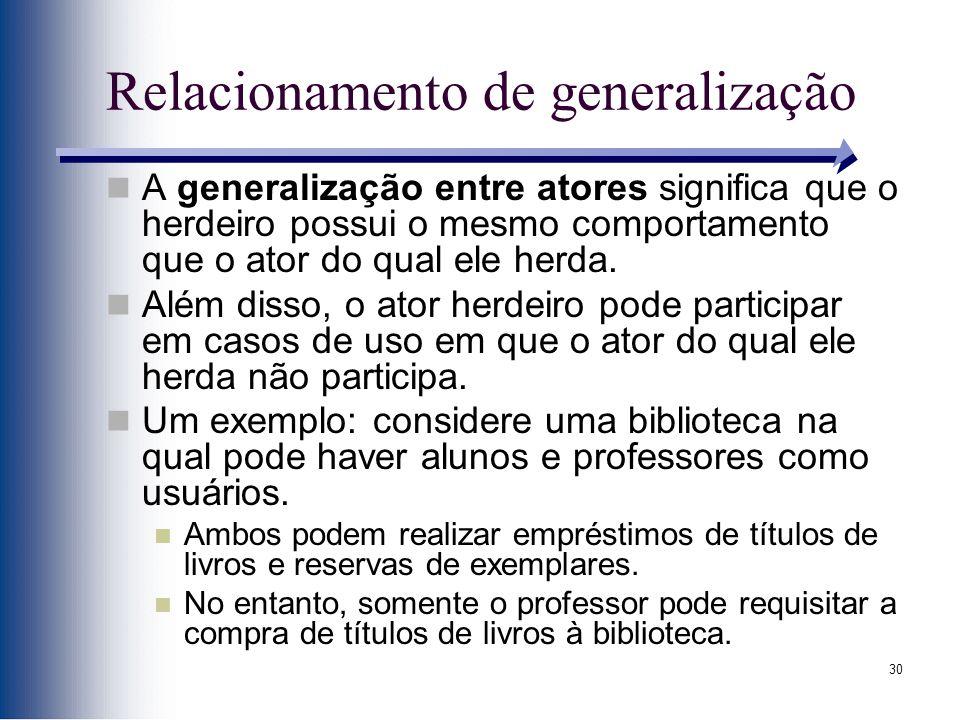 30 Relacionamento de generalização A generalização entre atores significa que o herdeiro possui o mesmo comportamento que o ator do qual ele herda.