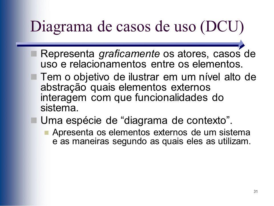 31 Diagrama de casos de uso (DCU) Representa graficamente os atores, casos de uso e relacionamentos entre os elementos. Tem o objetivo de ilustrar em