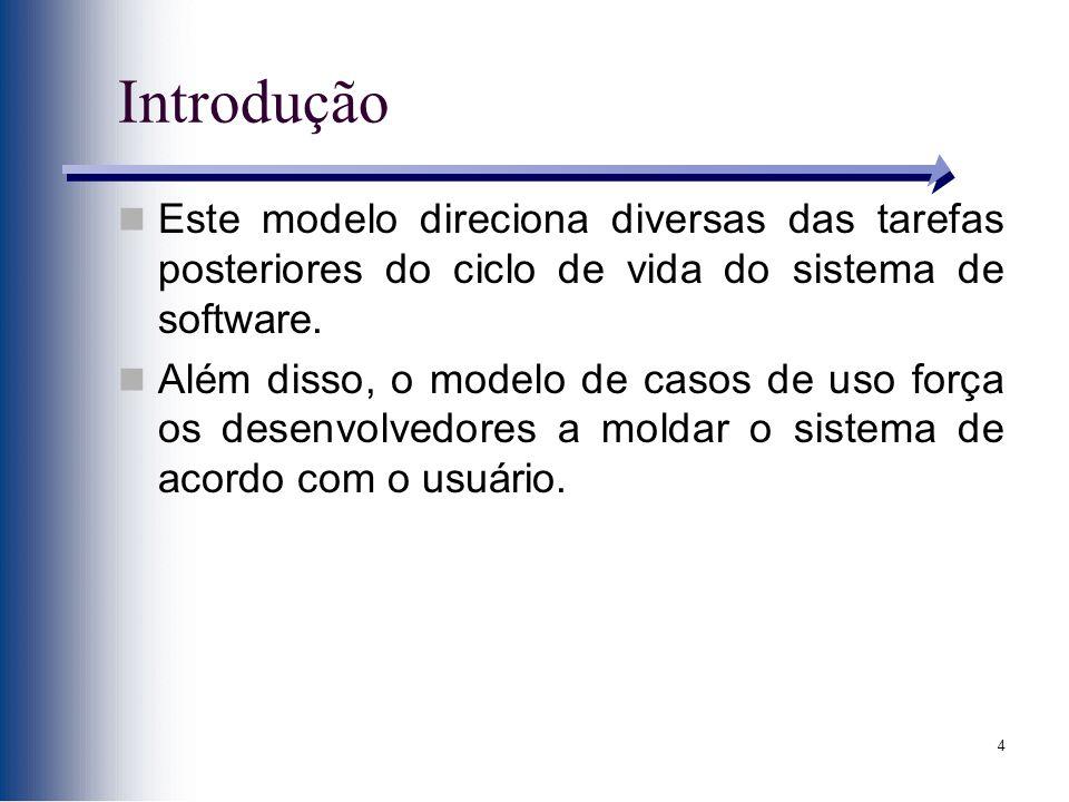 4 Introdução Este modelo direciona diversas das tarefas posteriores do ciclo de vida do sistema de software. Além disso, o modelo de casos de uso forç