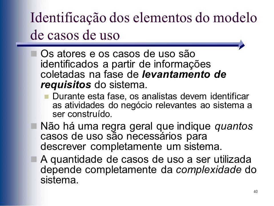 40 Identificação dos elementos do modelo de casos de uso Os atores e os casos de uso são identificados a partir de informações coletadas na fase de levantamento de requisitos do sistema.