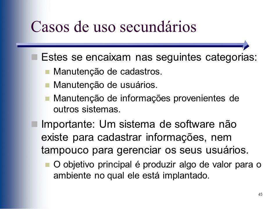 45 Casos de uso secundários Estes se encaixam nas seguintes categorias: Manutenção de cadastros. Manutenção de usuários. Manutenção de informações pro