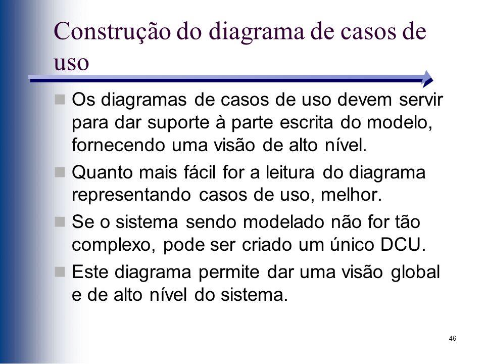 46 Construção do diagrama de casos de uso Os diagramas de casos de uso devem servir para dar suporte à parte escrita do modelo, fornecendo uma visão de alto nível.