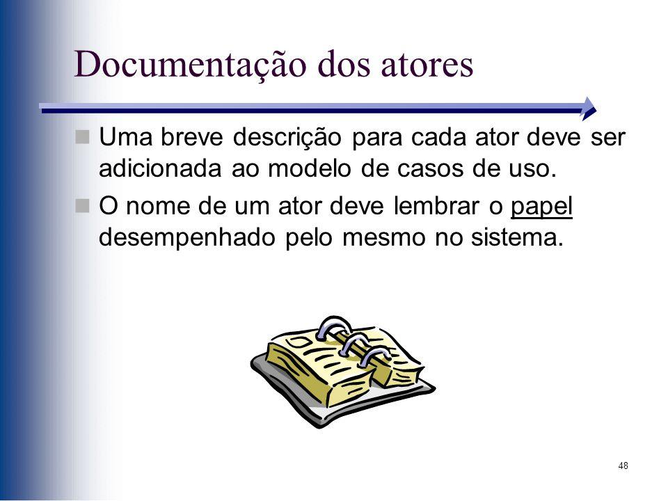 48 Documentação dos atores Uma breve descrição para cada ator deve ser adicionada ao modelo de casos de uso.