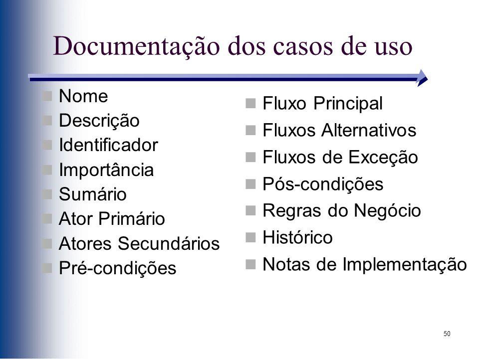 50 Documentação dos casos de uso Nome Descrição Identificador Importância Sumário Ator Primário Atores Secundários Pré-condições Fluxo Principal Fluxo