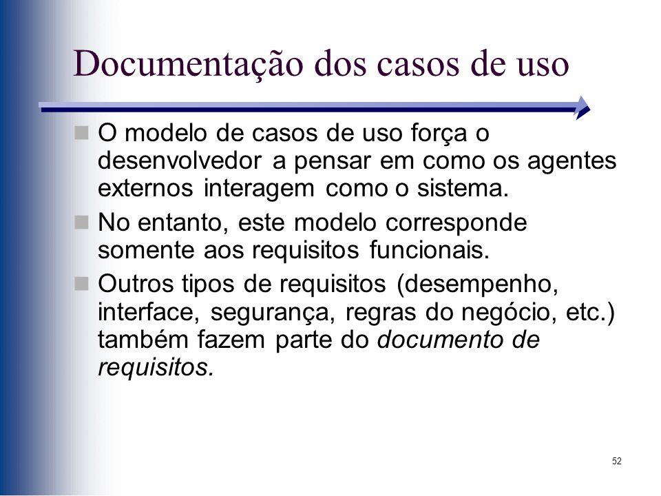 52 Documentação dos casos de uso O modelo de casos de uso força o desenvolvedor a pensar em como os agentes externos interagem como o sistema. No enta