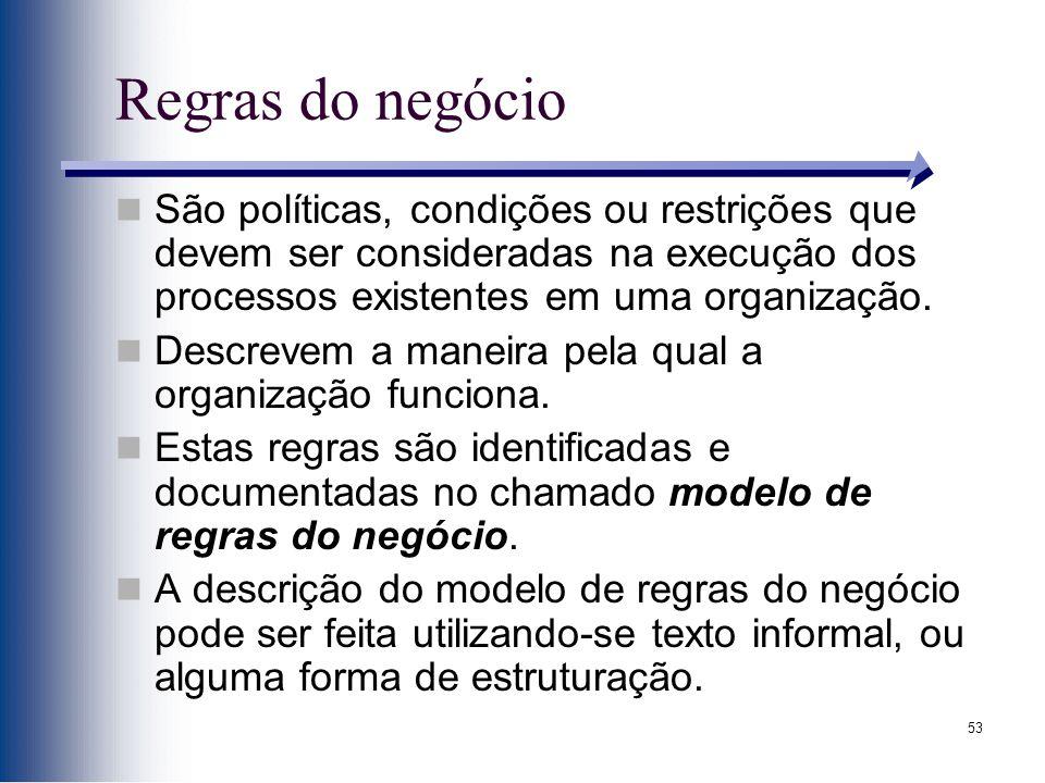 53 Regras do negócio São políticas, condições ou restrições que devem ser consideradas na execução dos processos existentes em uma organização. Descre