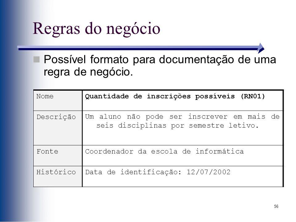56 Regras do negócio Possível formato para documentação de uma regra de negócio. NomeQuantidade de inscrições possíveis (RN01) DescriçãoUm aluno não p
