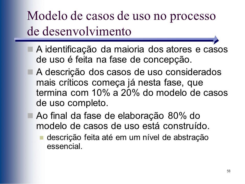 58 Modelo de casos de uso no processo de desenvolvimento A identificação da maioria dos atores e casos de uso é feita na fase de concepção. A descriçã