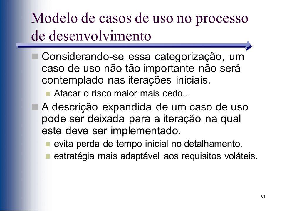 61 Modelo de casos de uso no processo de desenvolvimento Considerando-se essa categorização, um caso de uso não tão importante não será contemplado nas iterações iniciais.