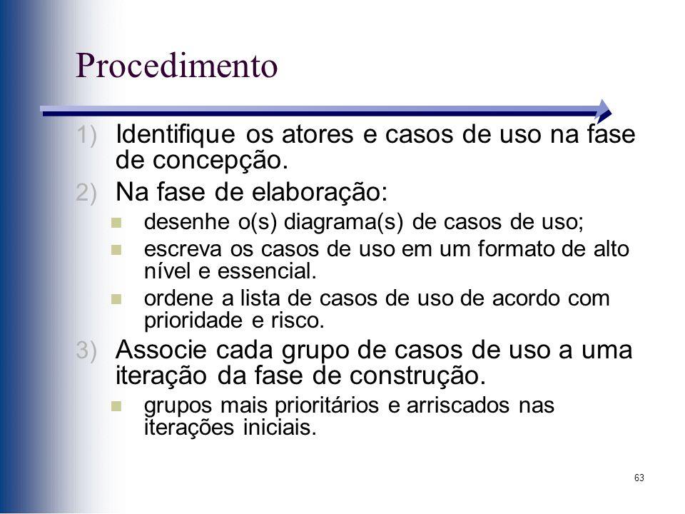 63 Procedimento 1) Identifique os atores e casos de uso na fase de concepção. 2) Na fase de elaboração: desenhe o(s) diagrama(s) de casos de uso; escr