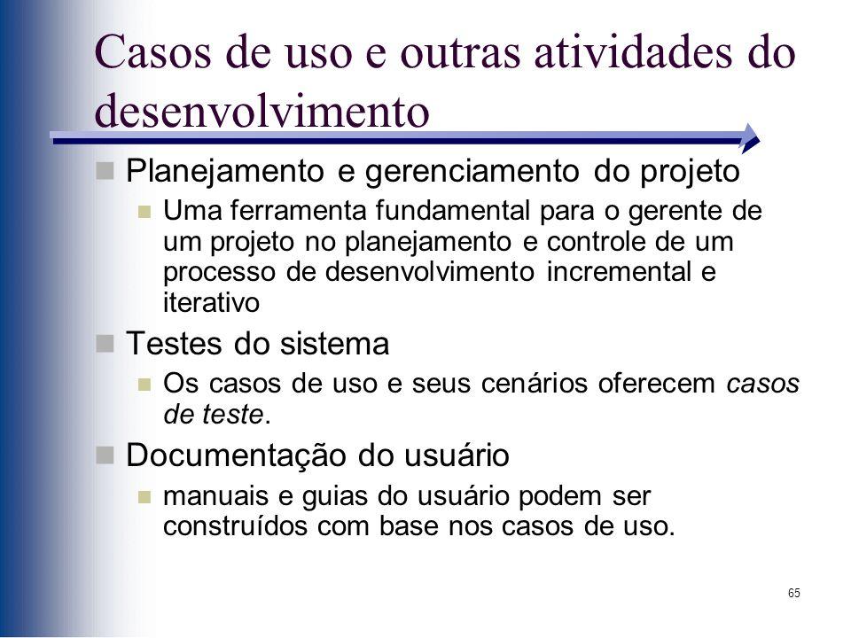 65 Casos de uso e outras atividades do desenvolvimento Planejamento e gerenciamento do projeto Uma ferramenta fundamental para o gerente de um projeto