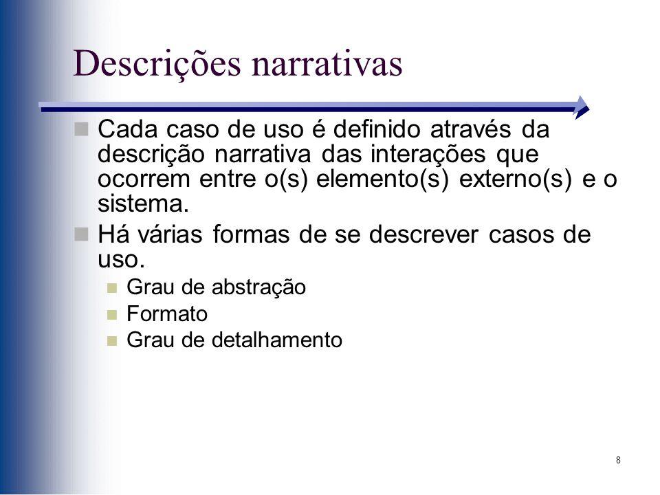 8 Descrições narrativas Cada caso de uso é definido através da descrição narrativa das interações que ocorrem entre o(s) elemento(s) externo(s) e o sistema.
