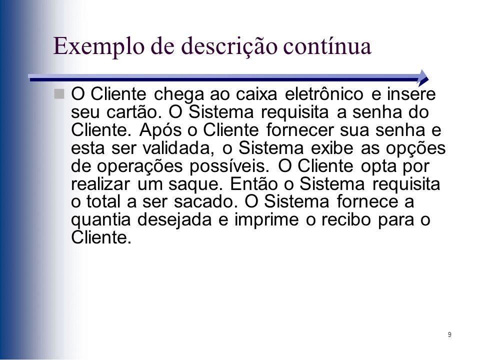 9 Exemplo de descrição contínua O Cliente chega ao caixa eletrônico e insere seu cartão. O Sistema requisita a senha do Cliente. Após o Cliente fornec