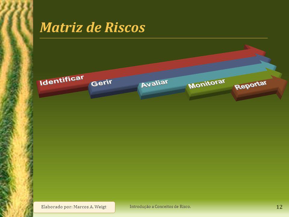 Matriz de Riscos 12 Introdução a Conceitos de Risco. Elaborado por: Marcos A. Weigt