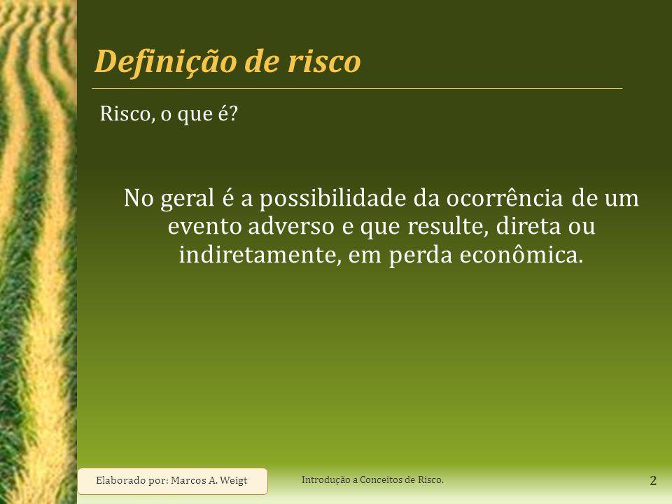 Definição de risco Risco, o que é? No geral é a possibilidade da ocorrência de um evento adverso e que resulte, direta ou indiretamente, em perda econ
