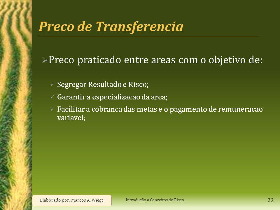 Preco de Transferencia  Preco praticado entre areas com o objetivo de: Segregar Resultado e Risco; Garantir a especializacao da area; Facilitar a cob