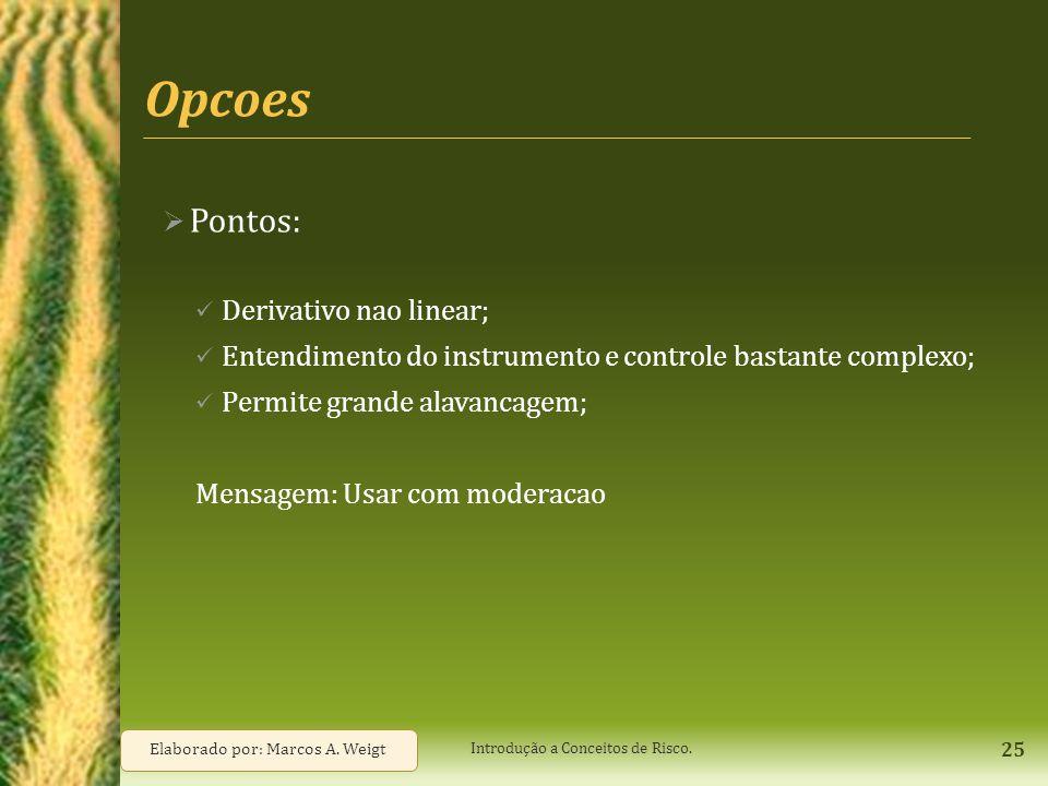 Opcoes  Pontos: Derivativo nao linear; Entendimento do instrumento e controle bastante complexo; Permite grande alavancagem; Mensagem: Usar com moder