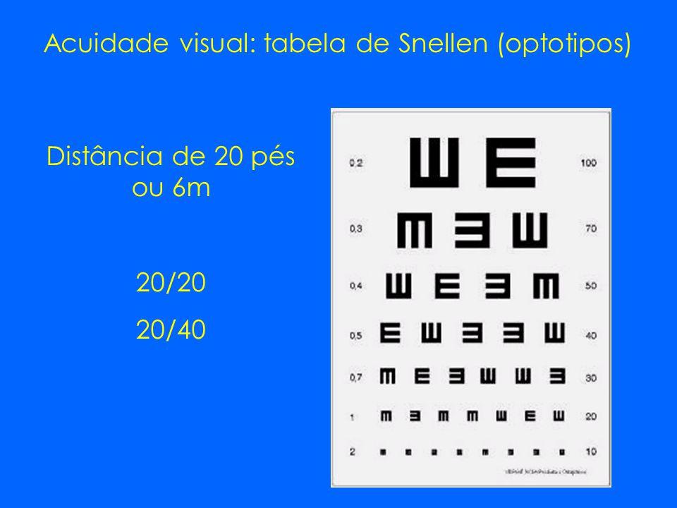 Acuidade visual: tabela de Snellen (optotipos) Distância de 20 pés ou 6m 20/20 20/40