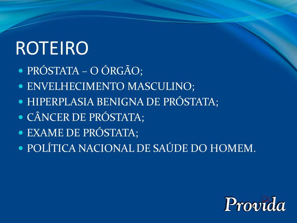 ROTEIRO PRÓSTATA – O ÓRGÃO; ENVELHECIMENTO MASCULINO; HIPERPLASIA BENIGNA DE PRÓSTATA; CÂNCER DE PRÓSTATA; EXAME DE PRÓSTATA; POLÍTICA NACIONAL DE SAÚDE DO HOMEM.