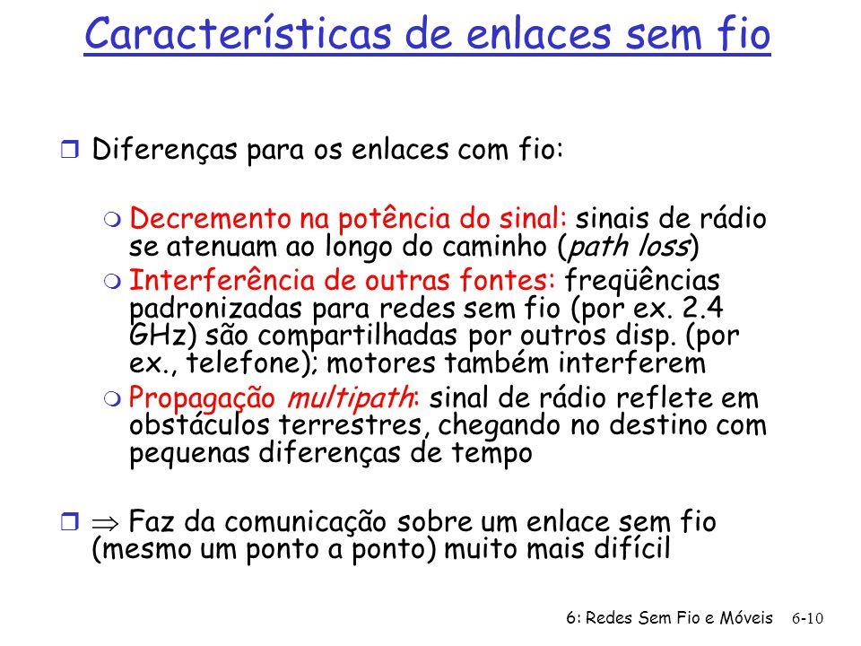 6: Redes Sem Fio e Móveis 6-10 Características de enlaces sem fio r Diferenças para os enlaces com fio: m Decremento na potência do sinal: sinais de r