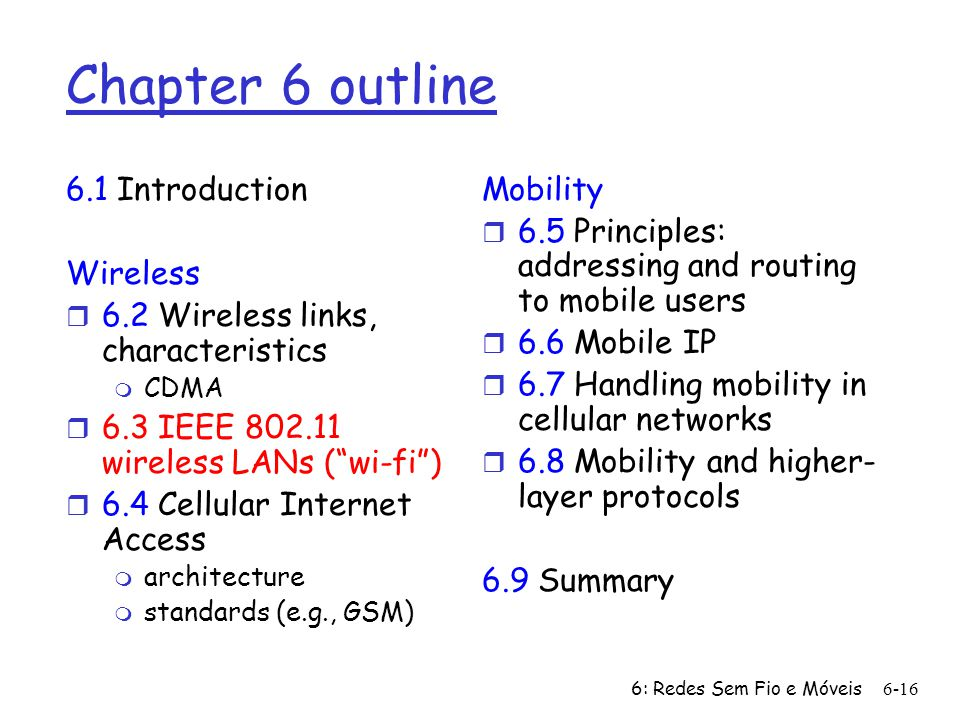 6: Redes Sem Fio e Móveis 6-16 Chapter 6 outline 6.1 Introduction Wireless r 6.2 Wireless links, characteristics m CDMA r 6.3 IEEE 802.11 wireless LAN
