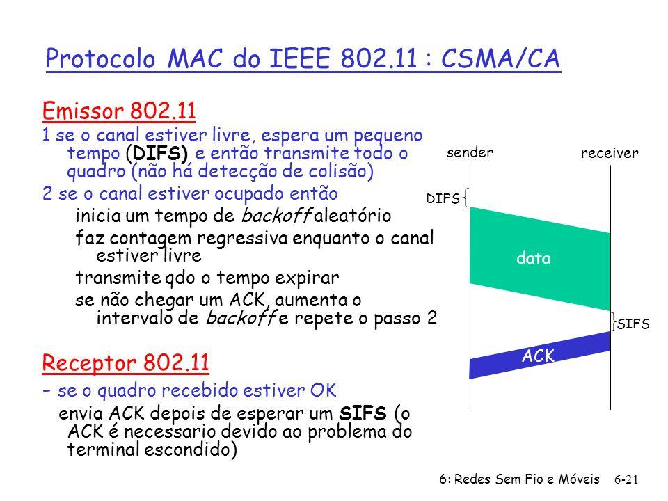 6: Redes Sem Fio e Móveis 6-21 Protocolo MAC do IEEE 802.11 : CSMA/CA Emissor 802.11 1 se o canal estiver livre, espera um pequeno tempo (DIFS) e então transmite todo o quadro (não há detecção de colisão) 2 se o canal estiver ocupado então inicia um tempo de backoff aleatório faz contagem regressiva enquanto o canal estiver livre transmite qdo o tempo expirar se não chegar um ACK, aumenta o intervalo de backoff e repete o passo 2 Receptor 802.11 - se o quadro recebido estiver OK envia ACK depois de esperar um SIFS (o ACK é necessario devido ao problema do terminal escondido) sender receiver DIFS data SIFS ACK