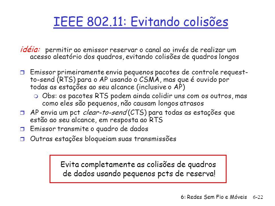 6: Redes Sem Fio e Móveis 6-22 IEEE 802.11: Evitando colisões idéia: permitir ao emissor reservar o canal ao invés de realizar um acesso aleatório dos