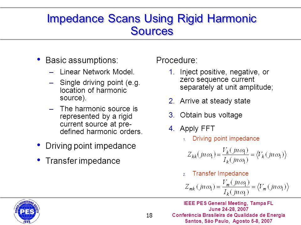 IEEE PES General Meeting, Tampa FL June 24-28, 2007 Conferência Brasileira de Qualidade de Energia Santos, São Paulo, Agosto 5-8, 2007 18 Impedance Scans Using Rigid Harmonic Sources Basic assumptions: –Linear Network Model.