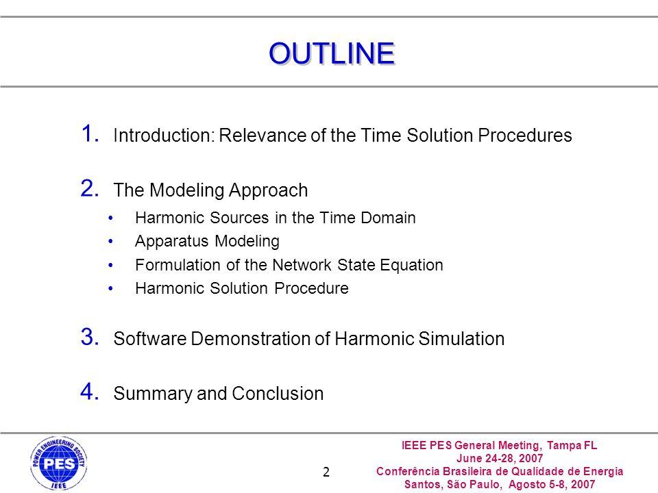 IEEE PES General Meeting, Tampa FL June 24-28, 2007 Conferência Brasileira de Qualidade de Energia Santos, São Paulo, Agosto 5-8, 2007 13 Summary of The Time Domain Procedure