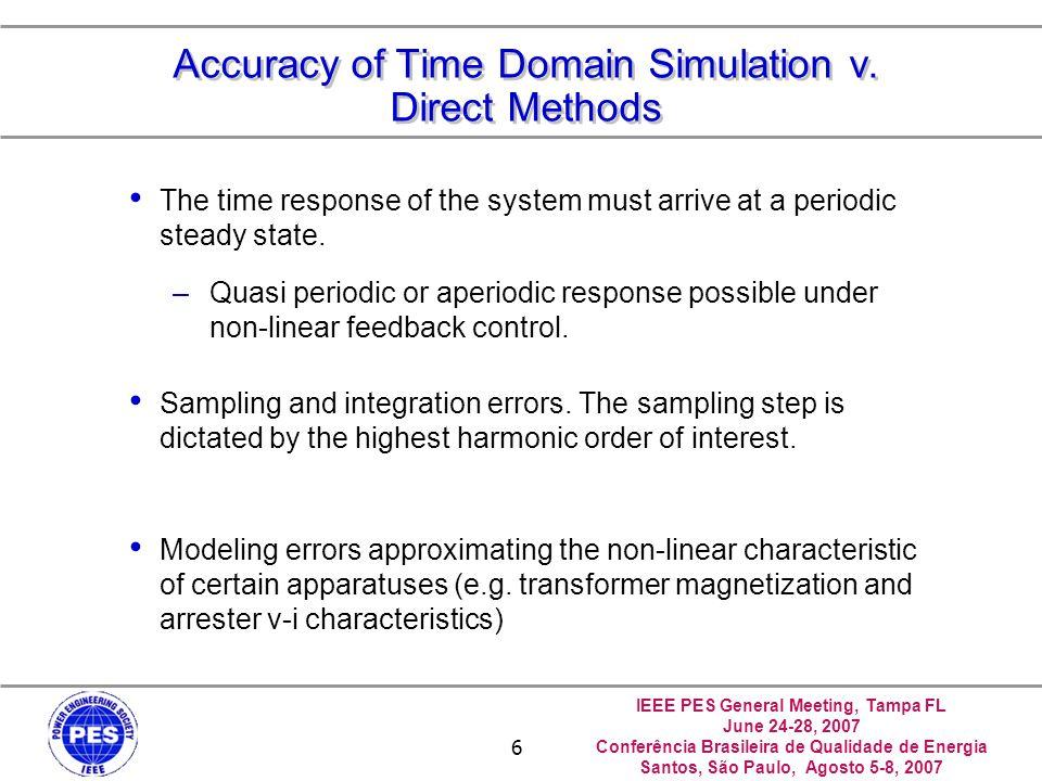 IEEE PES General Meeting, Tampa FL June 24-28, 2007 Conferência Brasileira de Qualidade de Energia Santos, São Paulo, Agosto 5-8, 2007 6 Accuracy of Time Domain Simulation v.