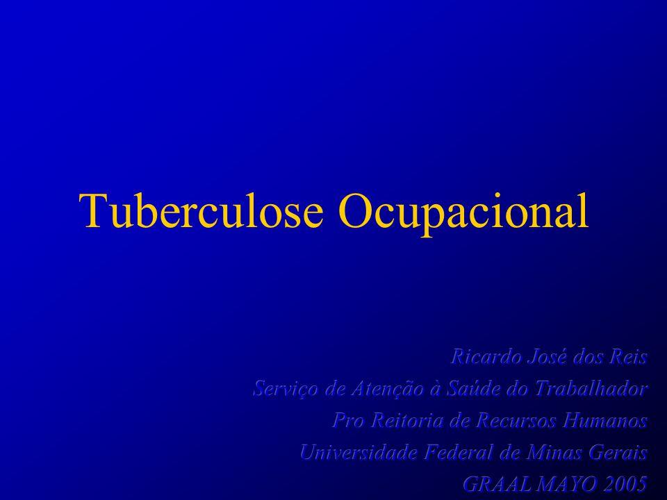 Estrutura da Apresentação Tuberculose no Brasil Tuberculose Ocupacional –Conceitos –Perspectivas Históricas Da negação às tentativas iniciais de controle –Medidas de controle atuais Situação do Hospital das Clínicas UFMG