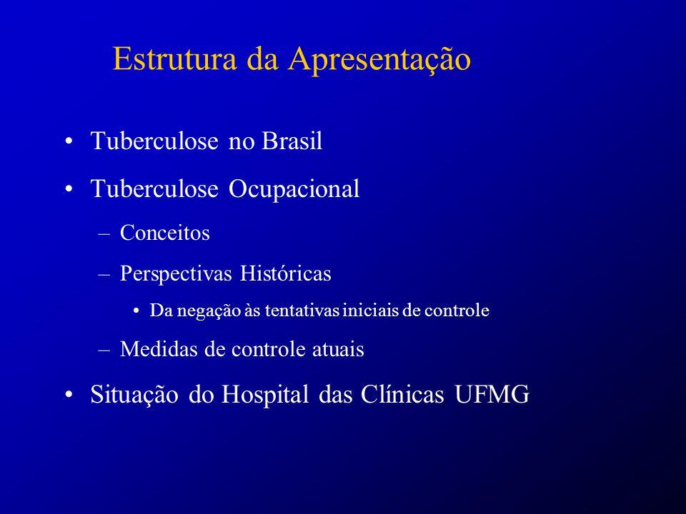 Tuberculose Ocupacional: Conceitos Doença ocupacional Classificação de Schilling: CATEGORIAEXEMPLOS I – NecessidadeDoenças profissionais (silicose) II – ContribuiçãoDoença coronariana III – ProvocaçãoAsma ocupacional (Adaptado de Schilling, 1984) Citado em Doenças Relacionadas com o Trabalho: Diagnóstico e Conduta Manual de Procedimentos para os Serviços de Saúde – Ministério da Saúde – OPS.