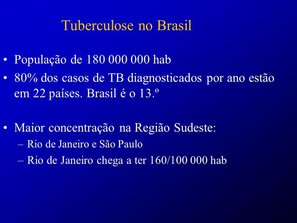 Tuberculose no Brasil – Distribuição Geográfica 70% dos casos: 315 municípios (5% do total) São Paulo* ((n=7.197), Rio de Janeiro* (n=6.605), Salvador (n=2.941), Belo Horizonte (n=1.777), Porto Alegre (n=1.642), Manaus (n=1624), Fortaleza (n=1.392) e Belém (n=1.148).