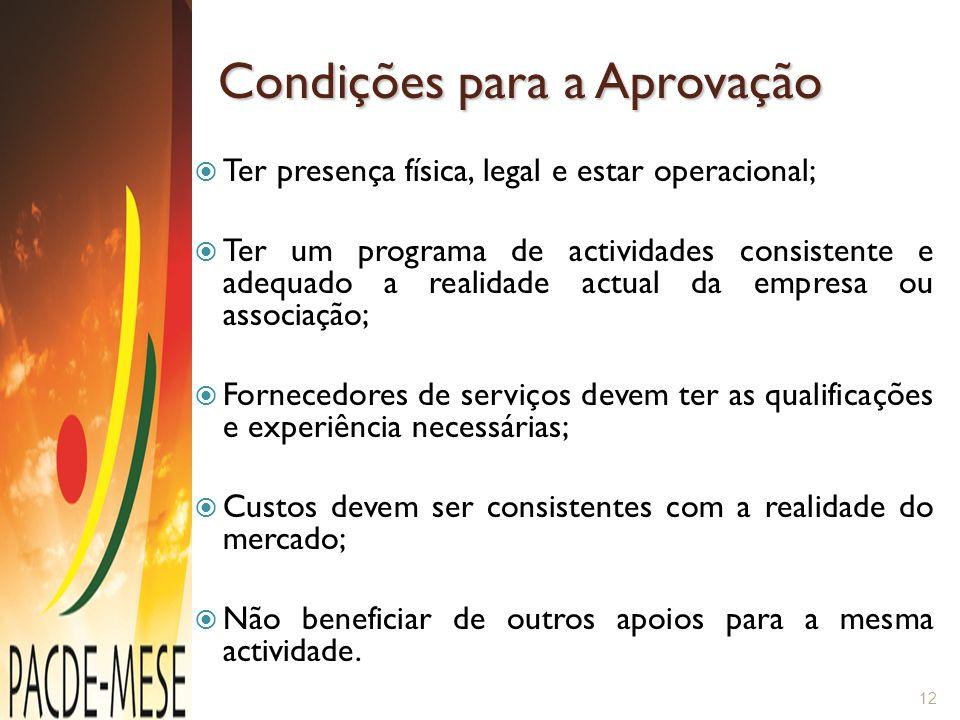 Condições para a Aprovação  Ter presença física, legal e estar operacional;  Ter um programa de actividades consistente e adequado a realidade actua