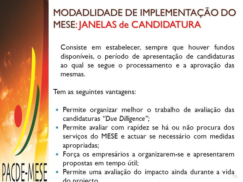 MODADLIDADE DE IMPLEMENTAÇÃO DO MESE: JANELAS de CANDIDATURA Consiste em estabelecer, sempre que houver fundos disponíveis, o período de apresentação