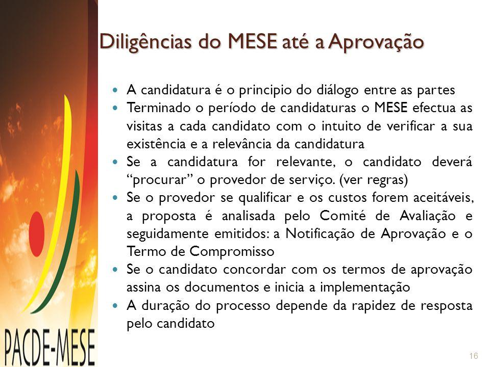 Diligências do MESE até a Aprovação A candidatura é o principio do diálogo entre as partes Terminado o período de candidaturas o MESE efectua as visit