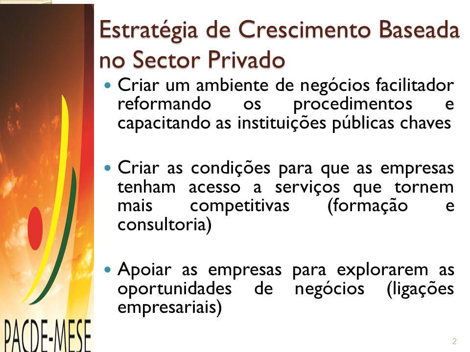 Estratégia de Crescimento Baseada no Sector Privado Criar um ambiente de negócios facilitador reformando os procedimentos e capacitando as instituiçõe