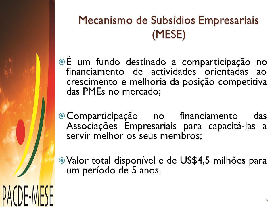 Níveis de Comparticipação Pequenas e Médias Empresas(US$3.0 M) – 50%; Micro-Empresas (US$1.0 M) – 70%; Associações Empresariais (US$0.5 M) - 75%; O valor será desembolsado após a implementação das actividades e directamente aos fornecedores de serviços.