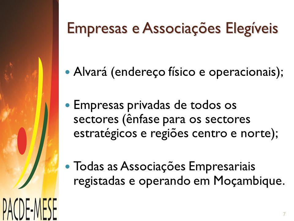 Empresas e Associações Elegíveis Alvará (endereço físico e operacionais); Empresas privadas de todos os sectores (ênfase para os sectores estratégicos