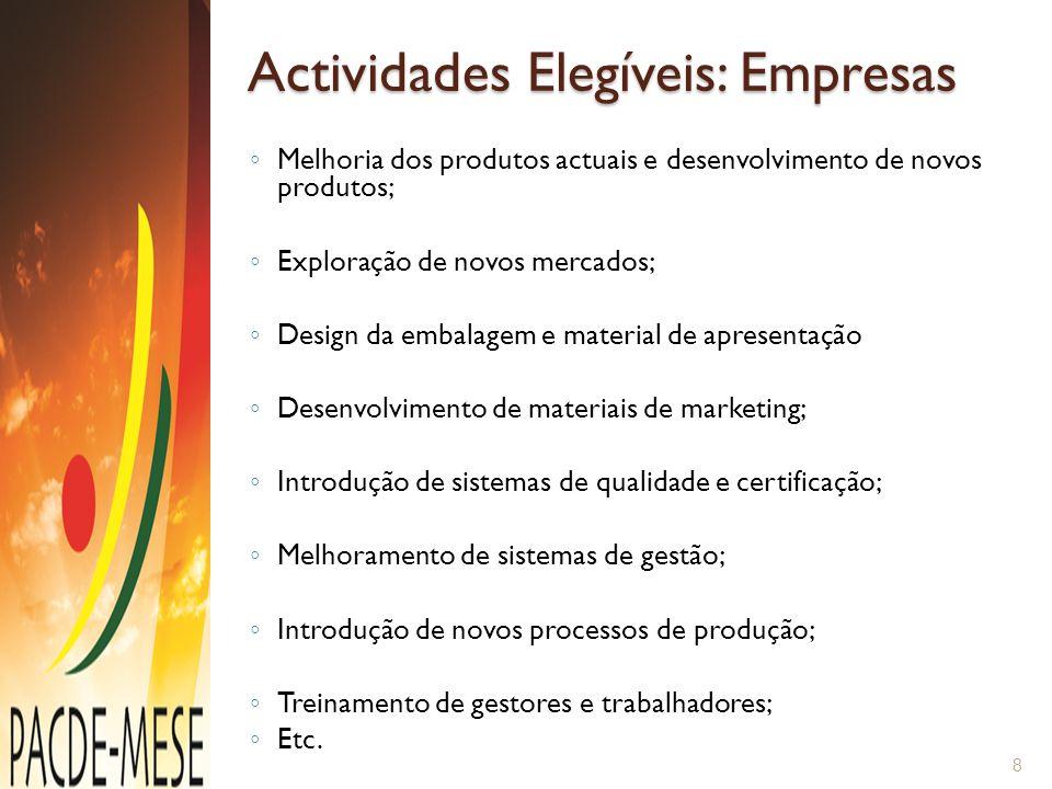 Actividades Elegíveis: Empresas ◦ Melhoria dos produtos actuais e desenvolvimento de novos produtos; ◦ Exploração de novos mercados; ◦ Design da embal
