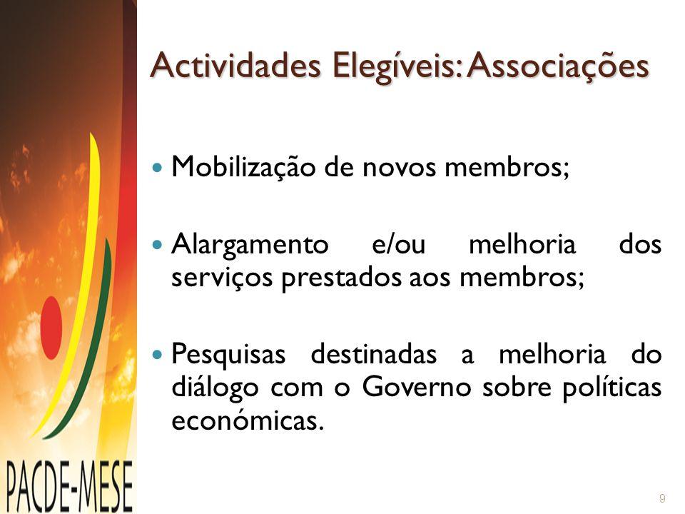 Actividades Elegíveis: Associações Mobilização de novos membros; Alargamento e/ou melhoria dos serviços prestados aos membros; Pesquisas destinadas a