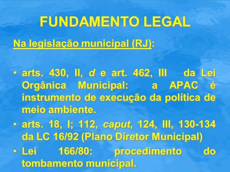 FUNDAMENTO LEGAL Na legislação municipal (RJ): arts. 430, II, d e art. 462, III da Lei Orgânica Municipal: a APAC é instrumento de execução da polític