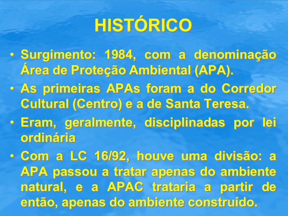 HISTÓRICO Surgimento: 1984, com a denominação Área de Proteção Ambiental (APA). As primeiras APAs foram a do Corredor Cultural (Centro) e a de Santa T